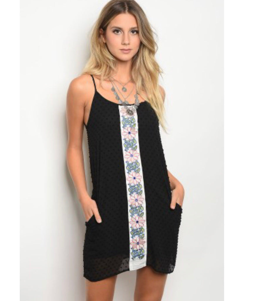 Black Polka Dot Floral Dress - the-a-to-z-boutique