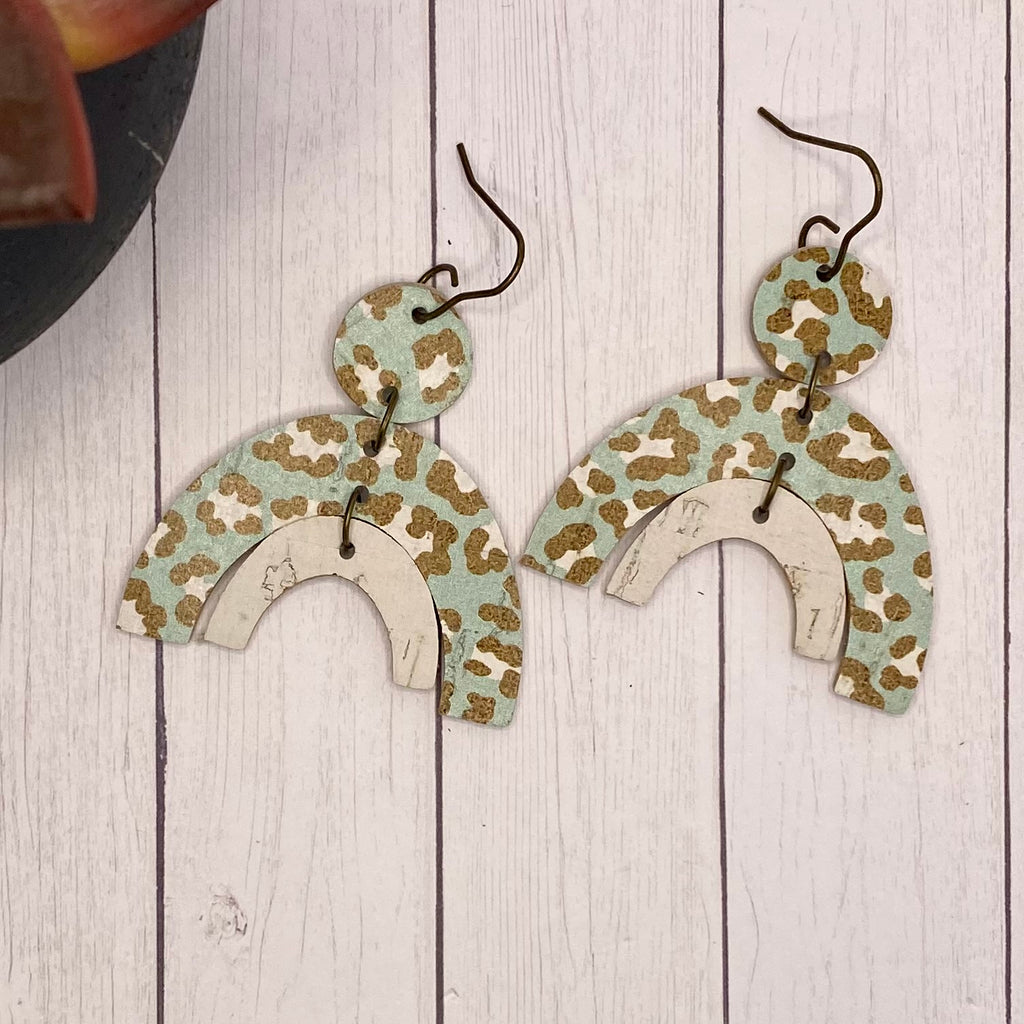 Mint Animal Print Leather and Cork Double Arch Earrings
