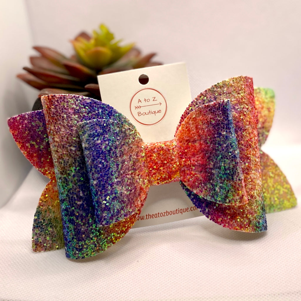 "Rainbow Glitter 6"" Hair Bow"