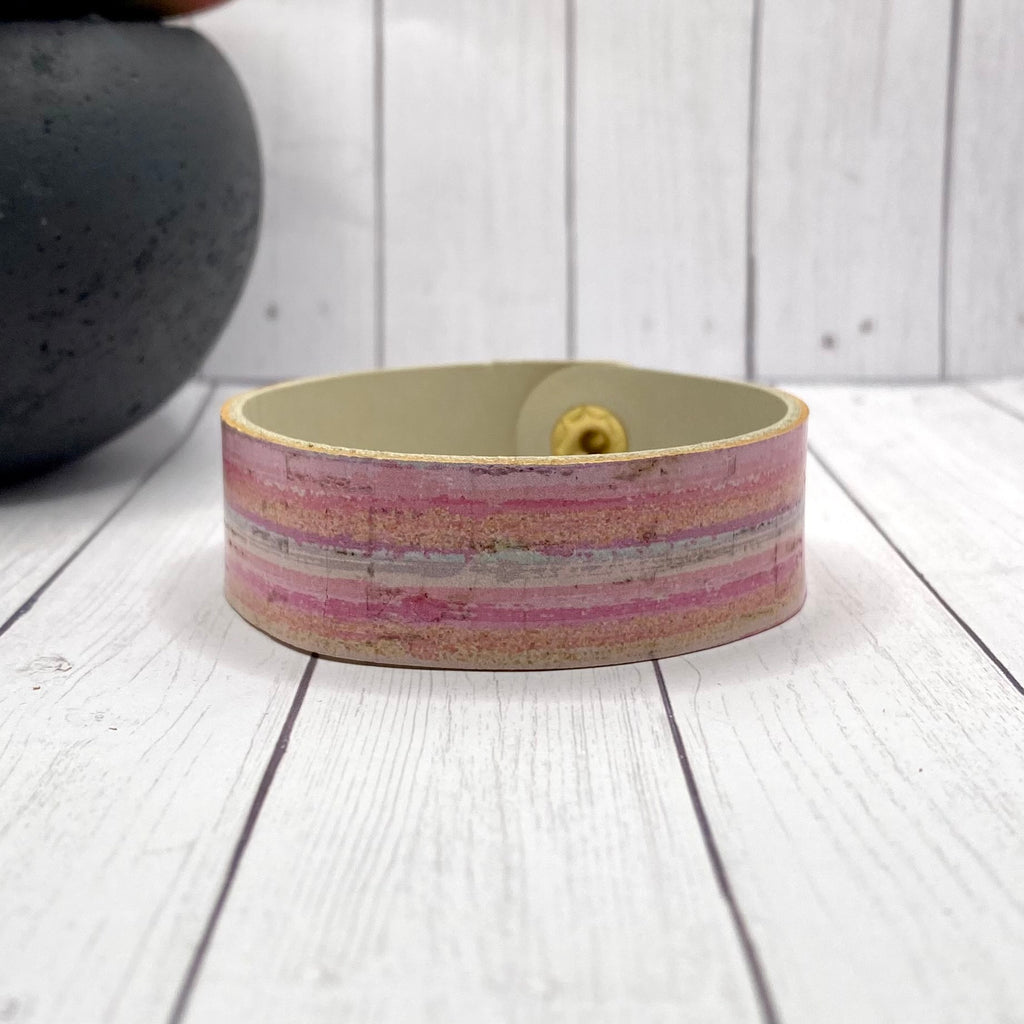 Leather and Cork Pink Stripe Bracelet