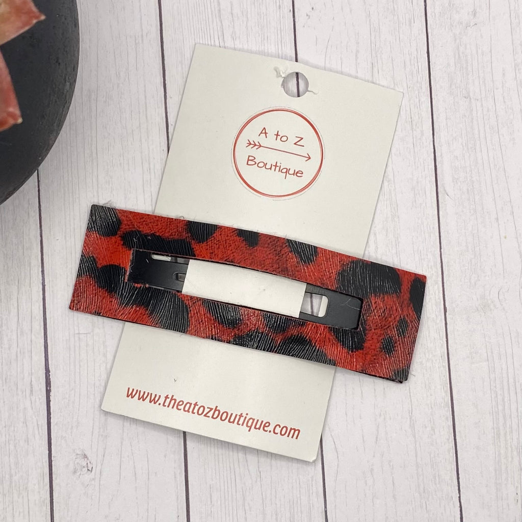 "3.25"" Red and Black Animal Print Rectangle Snap Clip"