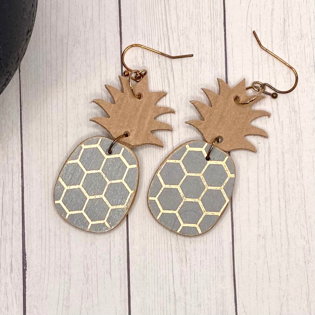 Rose Gold and Dusty Purple Pineapple Earrings