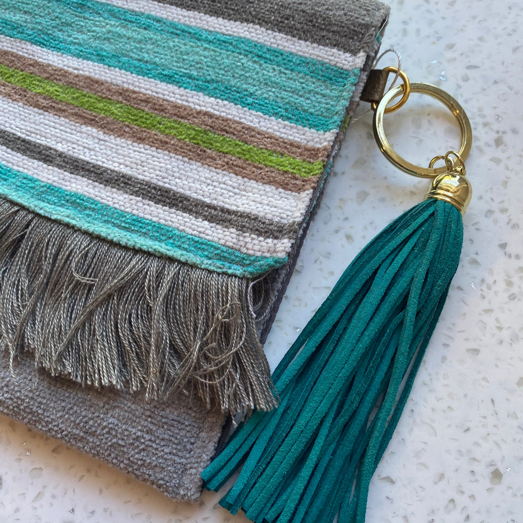 Gray and Teal Handmade Woven Rag Purse with Tassel