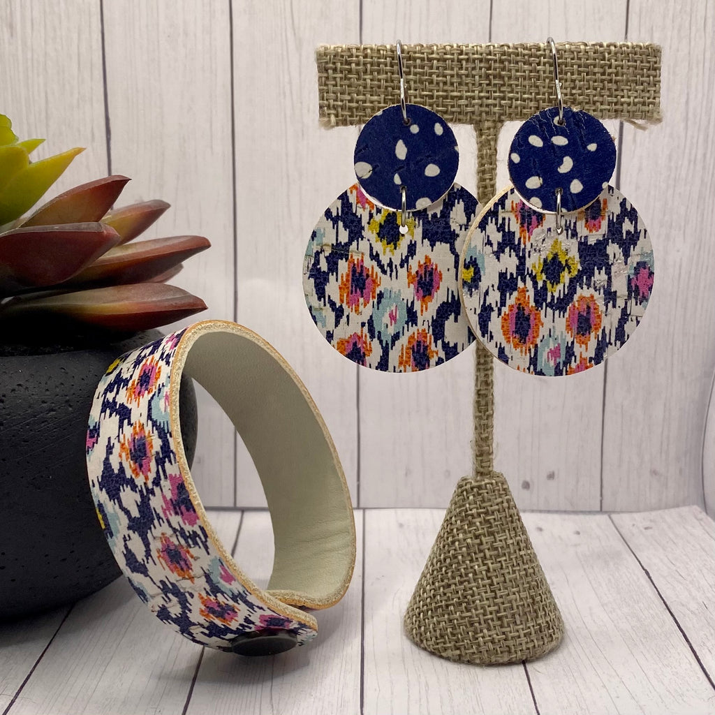Navy and White Cork and Leather Earrings