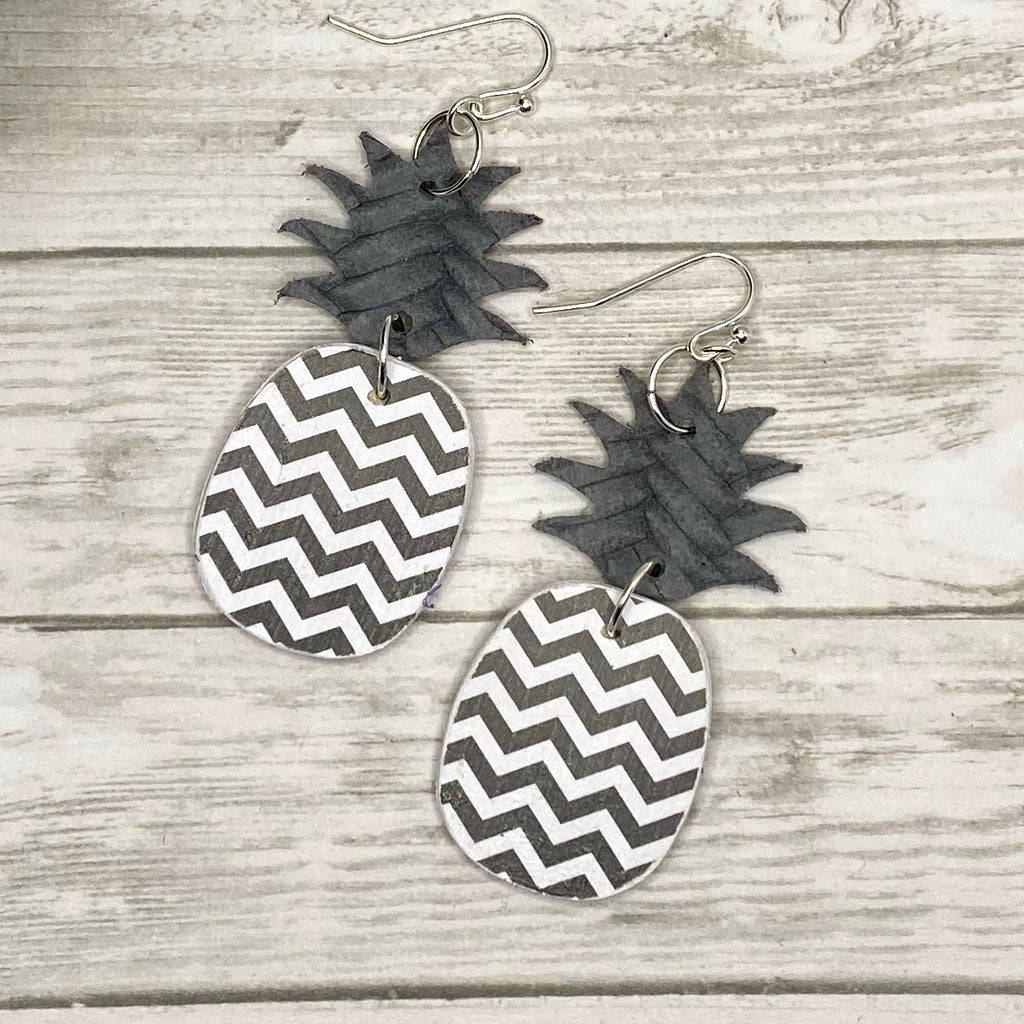 Gray and White Chevron Pineapple Earrings