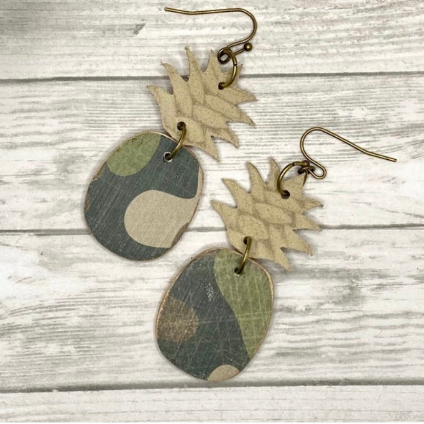 Camo Pineapple Earrings
