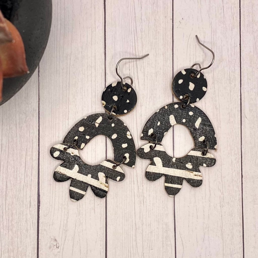 Black and White Flower Arch Leather Earrings