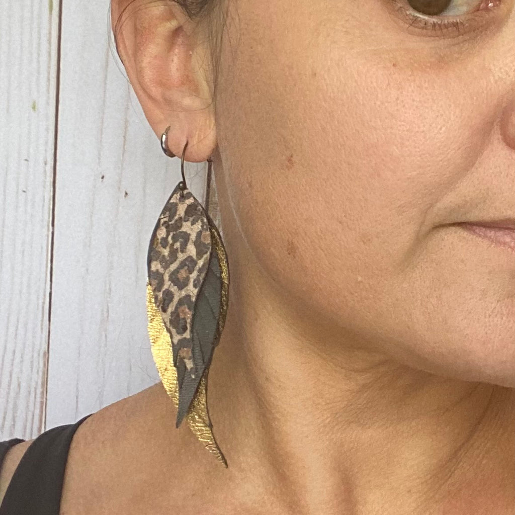 Genuine Leather Cheetah Feather Earrings