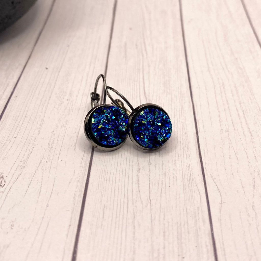 Navy Blue Iridescent Druzy Dangle Earrings