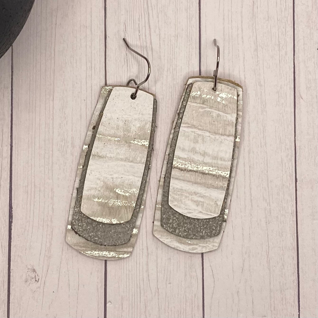 Triple Rectangle White and Silver Genuine Leather Earrings