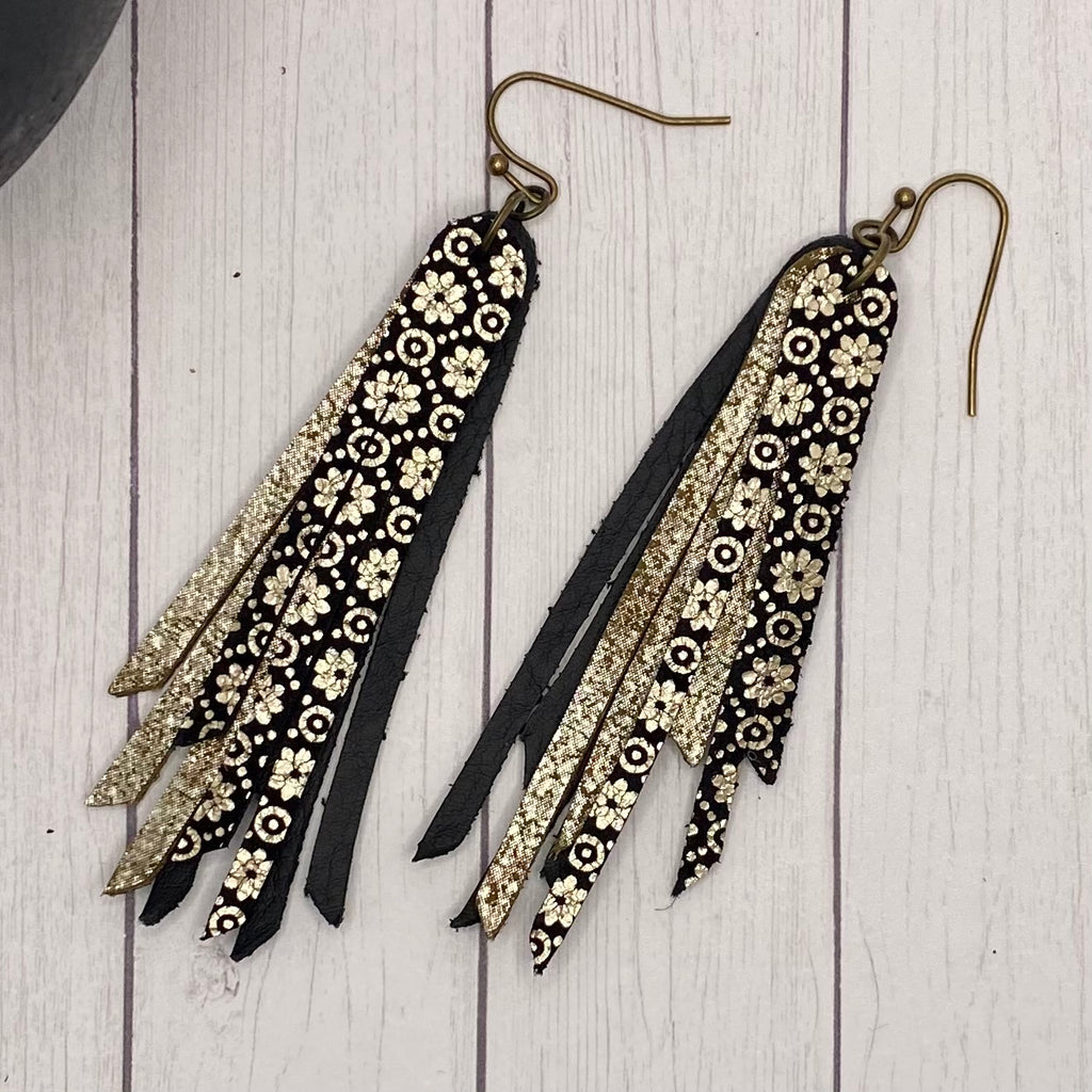 "2.75"" Genuine Leather Black and Gold Fringe Earrings"