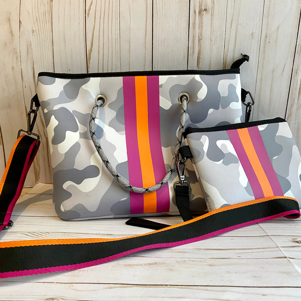 Gray Camo Neoprene Purse