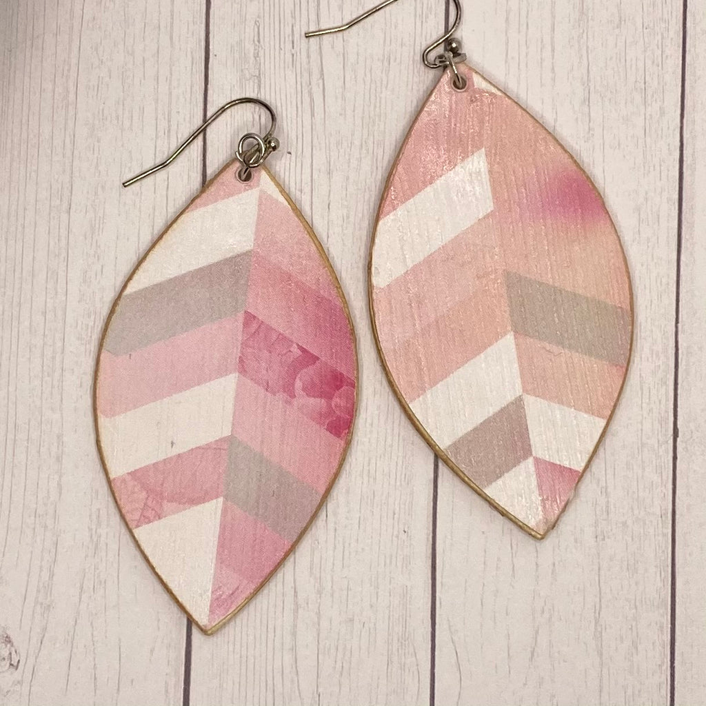 Pink Chevron Leaf Wood Earrings