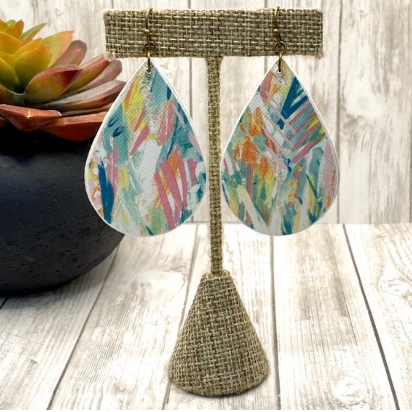 Aqua and Pink Watercolor Feather Wood Earrings
