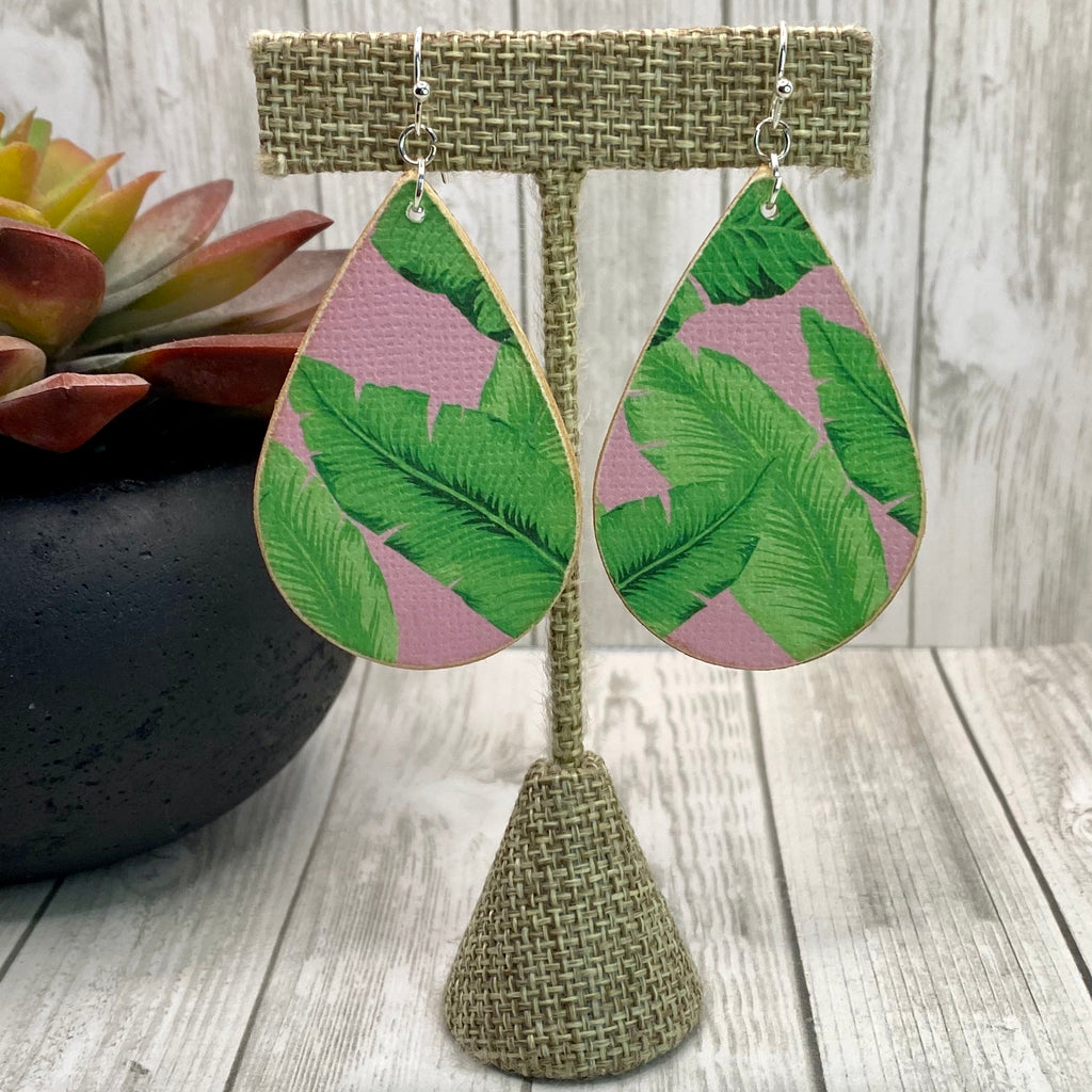 Handmade Pink and Green Palm Leaf Earrings