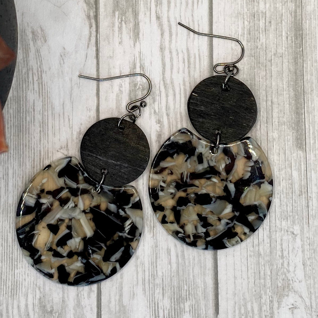 Handmade Wood and Acrylic Earrings Black and Tan Double Circle