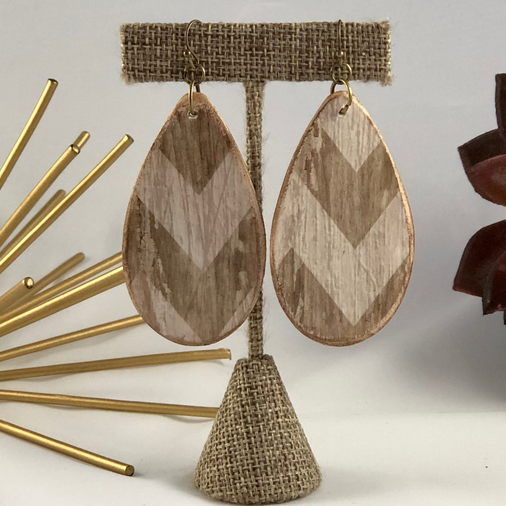 Chevron Wood Earrings