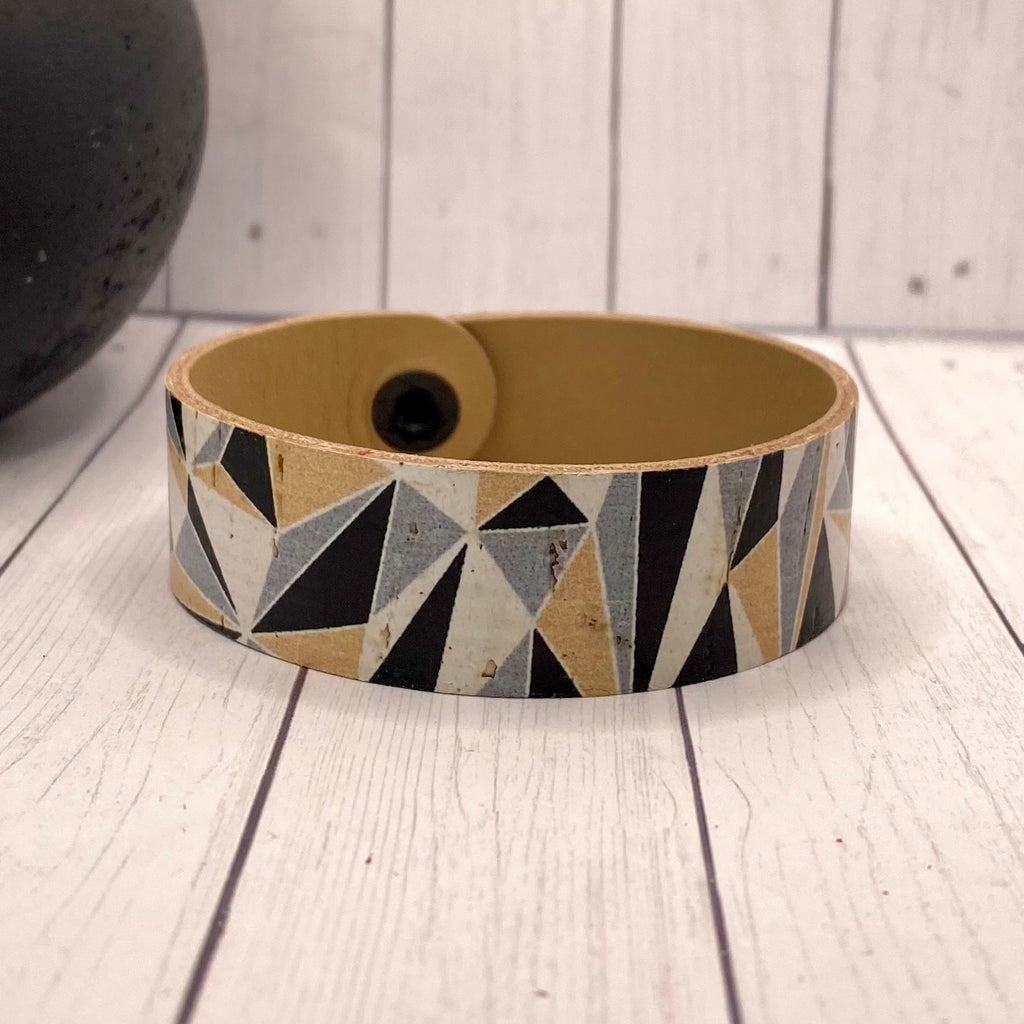 Leather and Cork Black Rose Gold Geometric Bracelet
