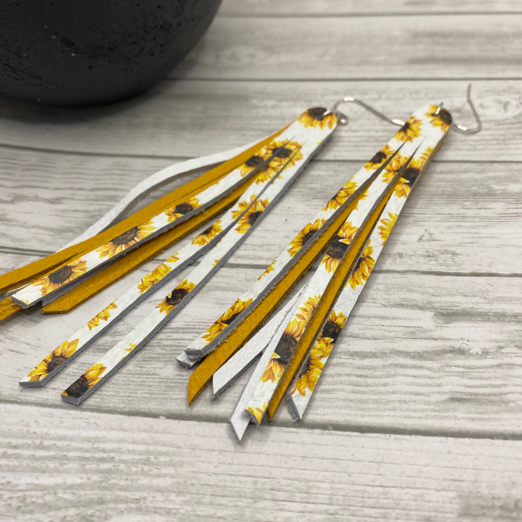 Genuine Leather Sunflower Fringe Earrings