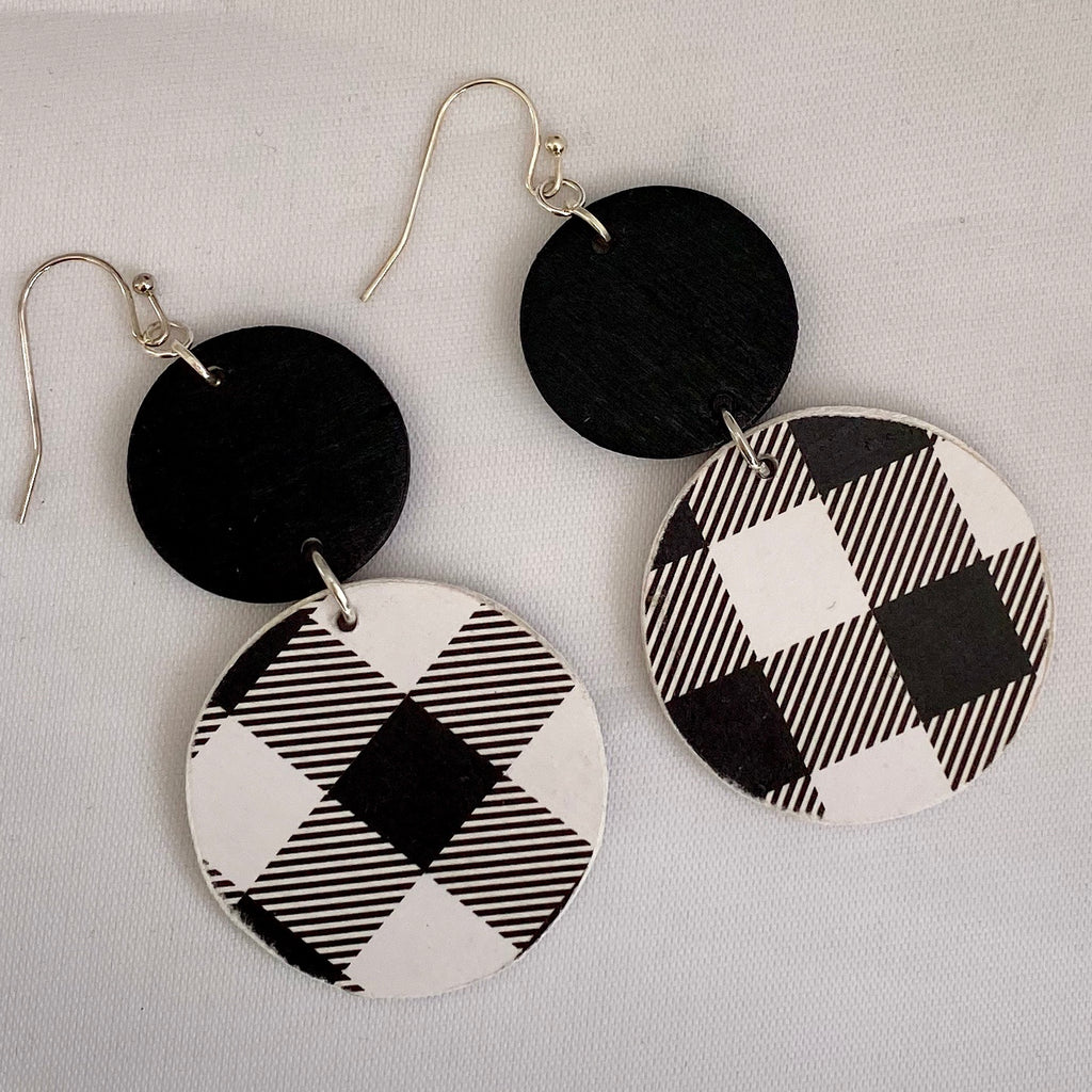 Double Circle Black White Buffalo Plaid Wood Earrings