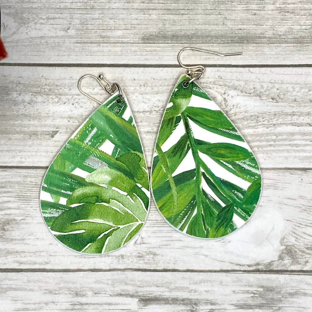 Wood Palm Leaf Earrings