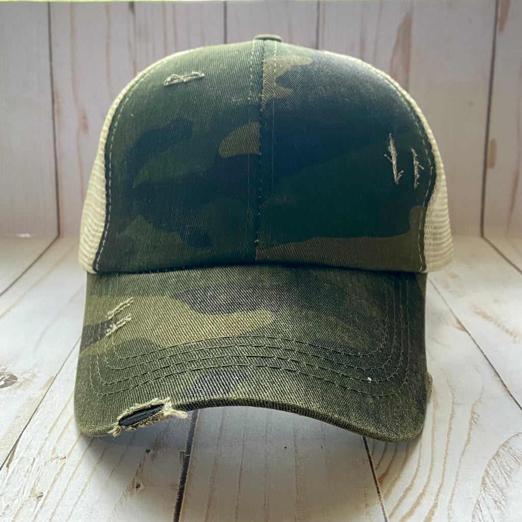 Camo Distressed Criss Cross Ponytail Hat