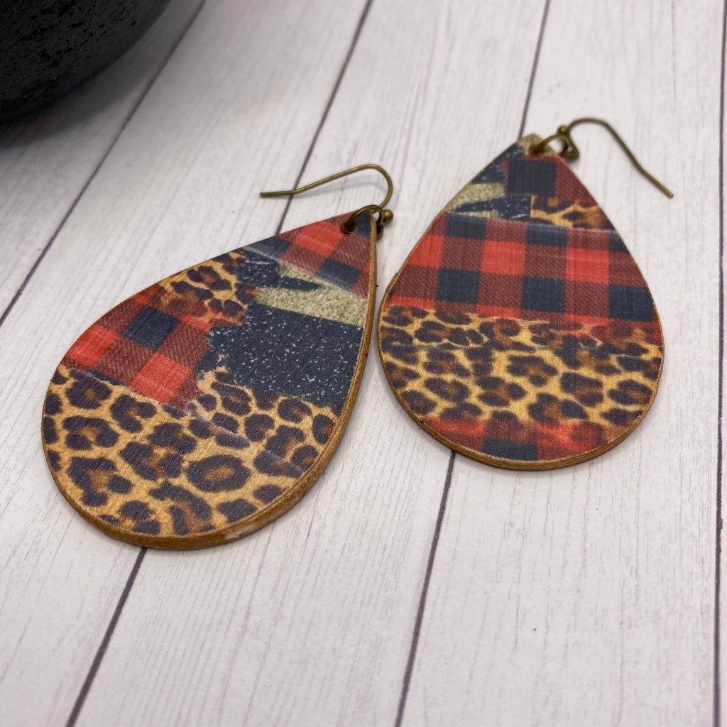 Buffalo Plaid Animal Print Wood Earrings