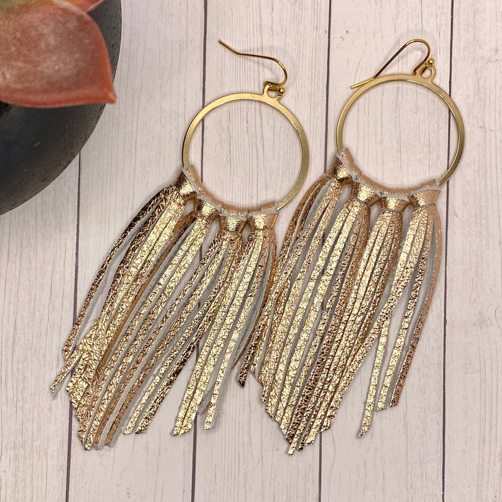 Rose Gold Leather Fringe Hoop Earrings