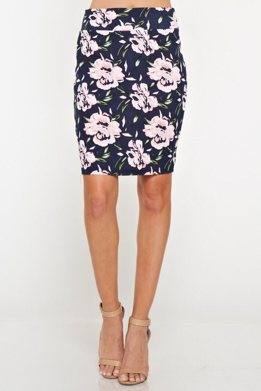 Navy Floral Pencil Skirt - the-a-to-z-boutique