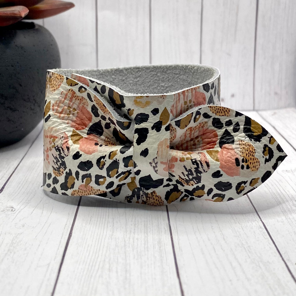 Floral Animal Print Genuine Leather Bow Cuff Bracelet