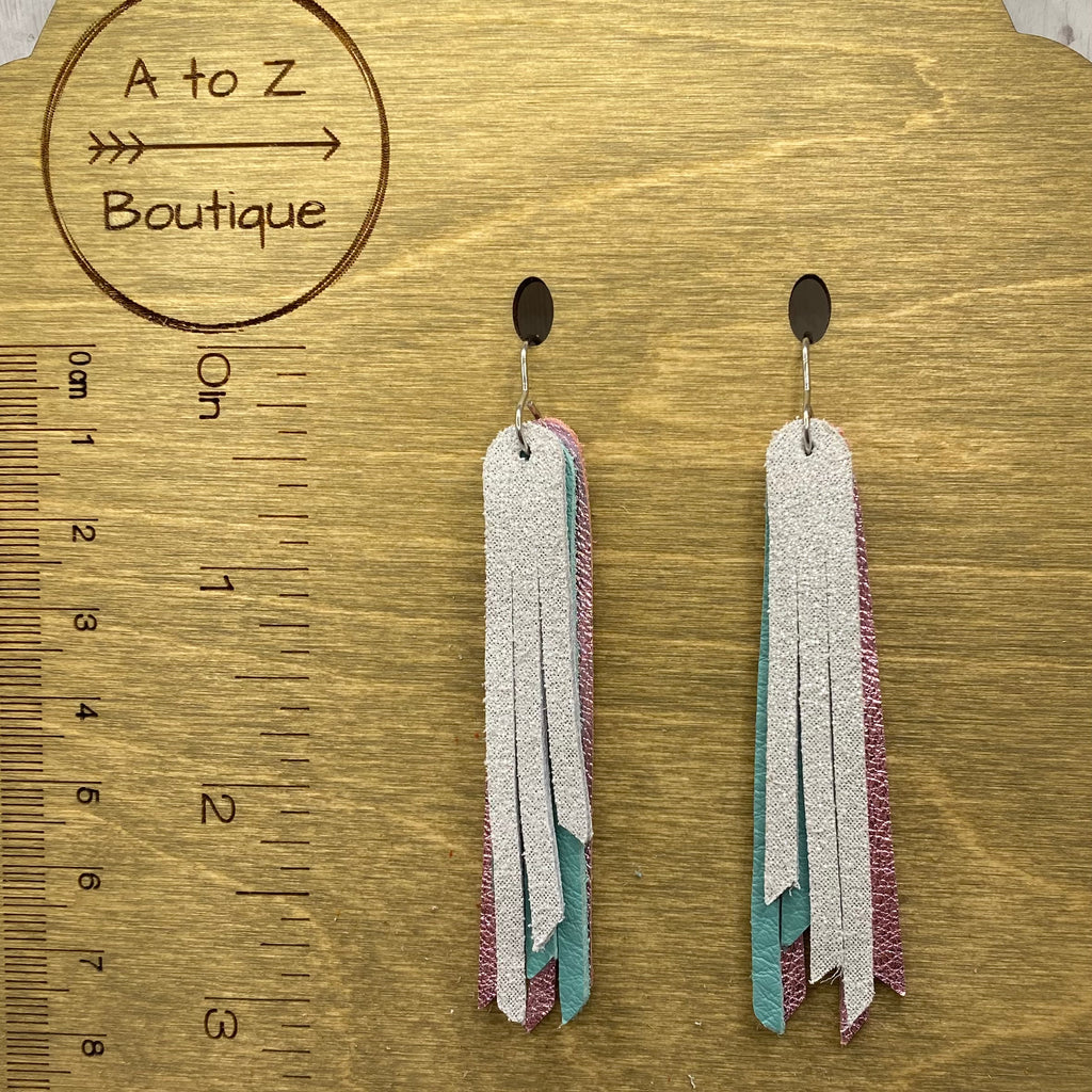 "2.75"" Genuine Leather Pink Teal White Fringe Earrings"