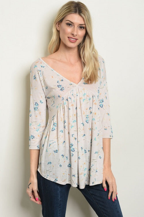 Cream Floral Top - the-a-to-z-boutique