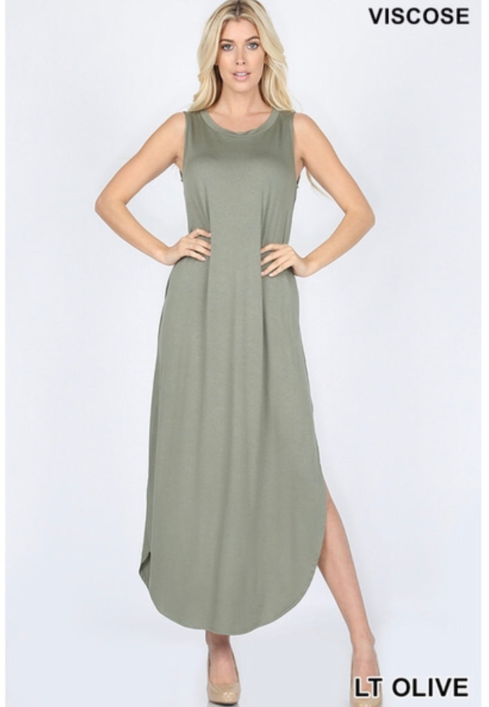 Green Sleeveless Pocket Maxi Dress - the-a-to-z-boutique