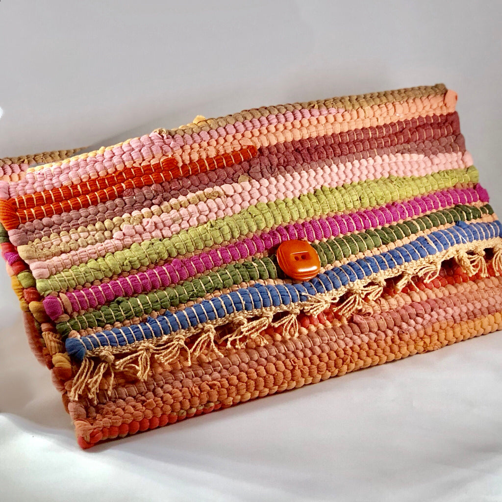 Orange Woven Clutch