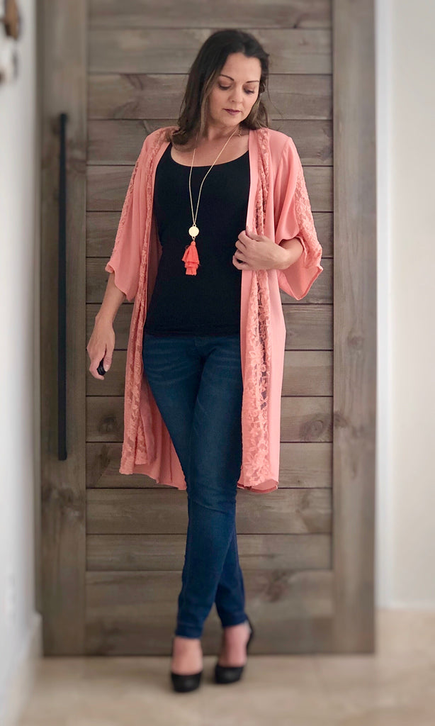 Coral Kimono - the-a-to-z-boutique