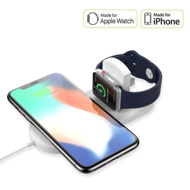 finest selection 7ed32 625a2 Wireless Charger for Apple Watch 2 in 1 Fast Charging Pad For iPhone XS MAX  XR X 8 Plus for iWatch 3 2 for Samsung S8 S9