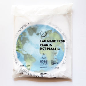 "Happy Plant biodegradable and certified home compostable Clear ""Poly""-less  Bag. Made from plants. Plastic free, eco-friendly bags 