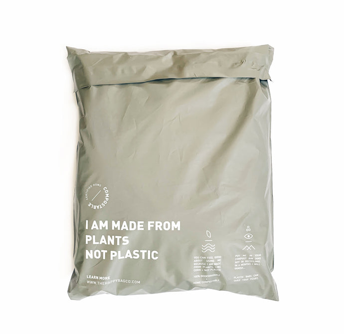100% Biodegradable and Home Compostable Mailers and Bags. Made from plants and certified to break down within 6 months. Eco-friendly and plastic free, as it should be.