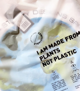 "Happy Plant biodegradable and certified home compostable Clear ""Poly""-less  Bag. Made from plants. Plastic free, eco-friendly bags. Barcode Scan-able  