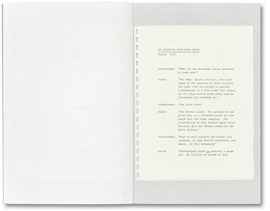 An Interview with Lewis Baltz <br> Duncan Forbes