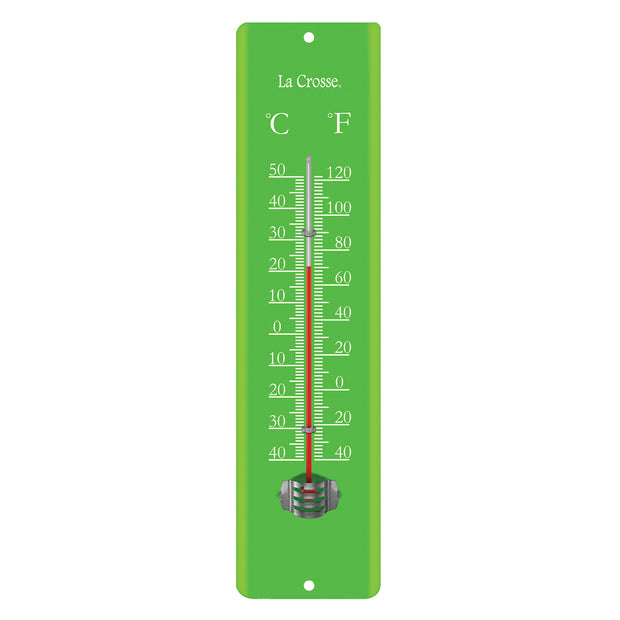 204-1530A Green 11.5 inch Metal Thermometer