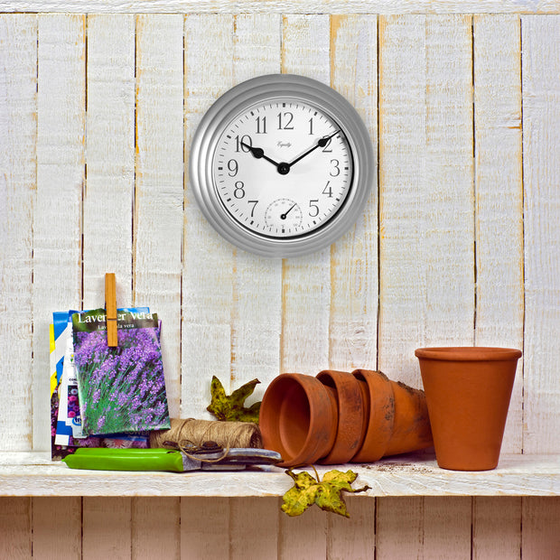 29007 Indoor/Outdoor Wall Clock with Temperature