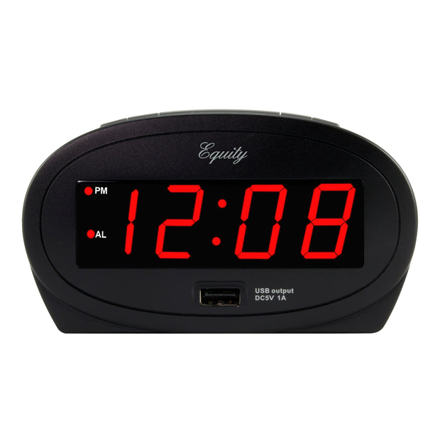 30024 .9 inch Red LED Alarm Clock with USB Charging Port