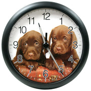 403-310D 10 inch Wall Clock with Glowing Hands - Puppies