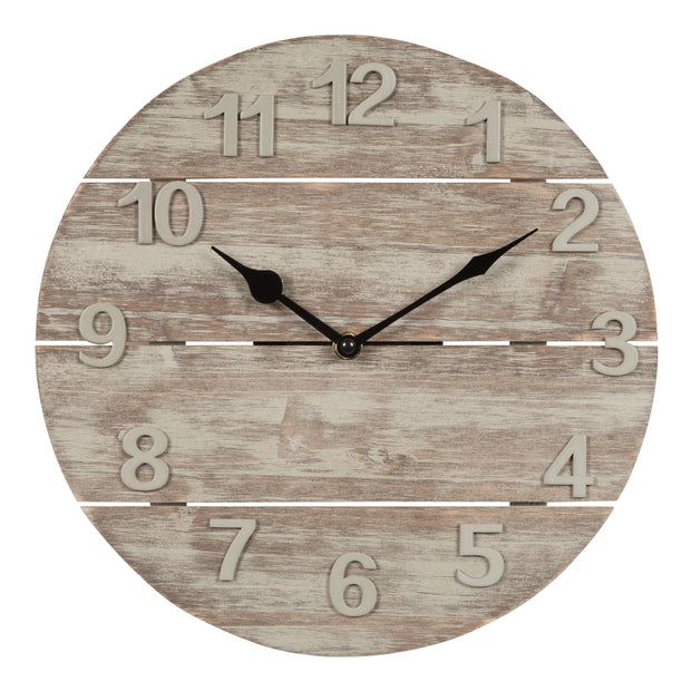 404-3430W 12 in Analog Wood Panel Wall Clock