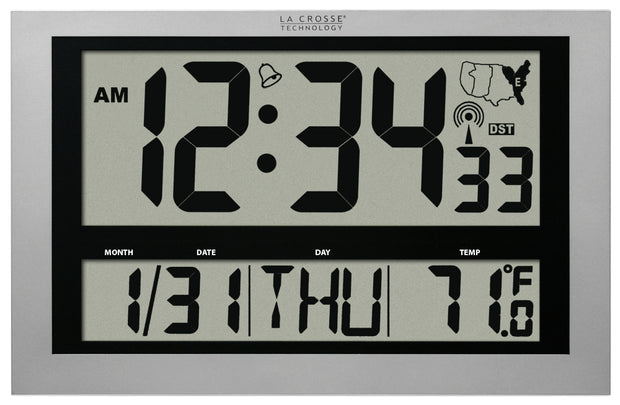 513-1211 Atomic Digital Clock with Large 4 inch Time Display