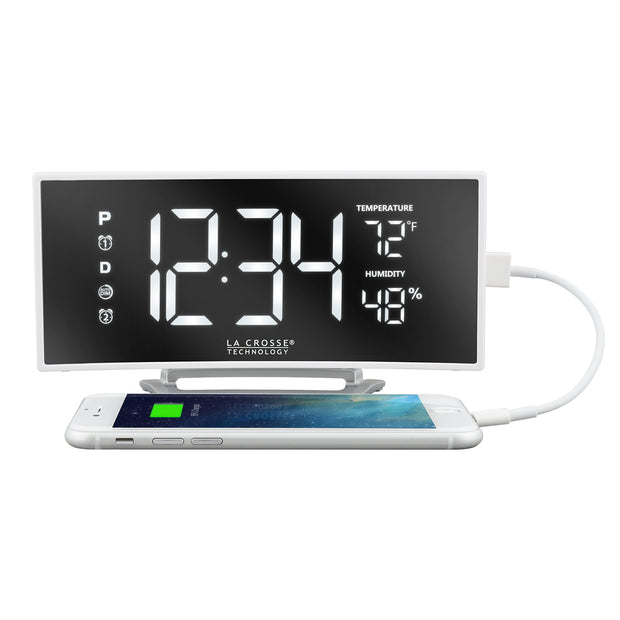602-249 White LED Mirror Alarm Clock