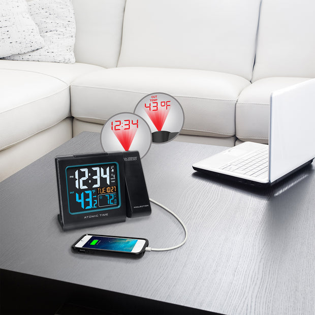 616-146V3 Atomic Projection Alarm Clock with Indoor/Outdoor Temperature