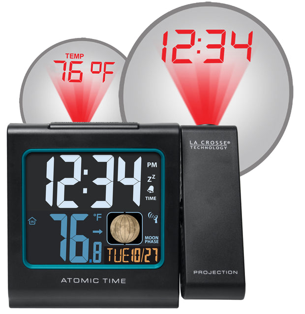 616-146A Atomic Projection Alarm Clock with Indoor Temp and Moon Phase
