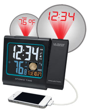 616-146AV2 Atomic Projection Alarm Clock with Indoor Temp and Moon Phase
